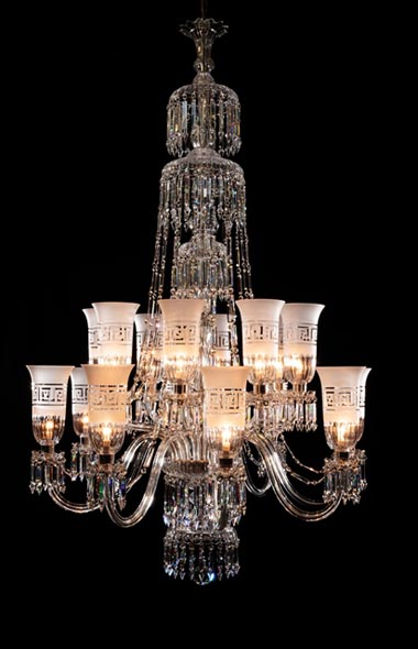 16 light Perry style chandelier with shades