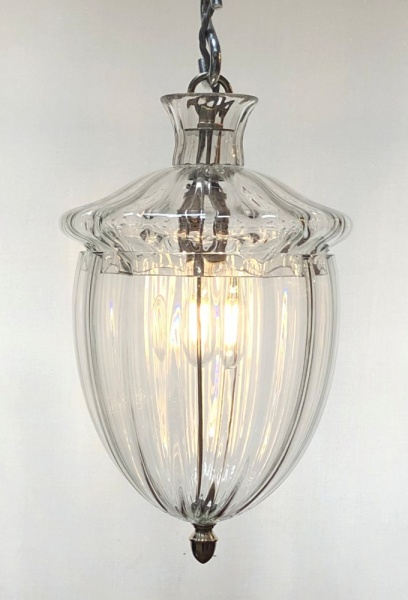Ribbed glass lantern